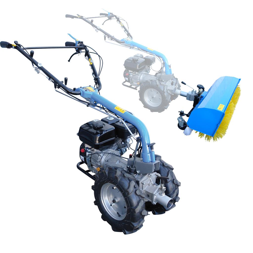 Motoreinachser GME 6,5 PS in Kombination mit Güde Kehrmaschine GKM 900